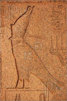 Picture of An engraving of the ancient egyptian falcon headed god Horus.  On a marble obelisk at the Temple of Karnak near Luxor, Egypt