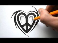 Kewl!  ▶ How to Draw a Peace Love Symbol Design - YouTube