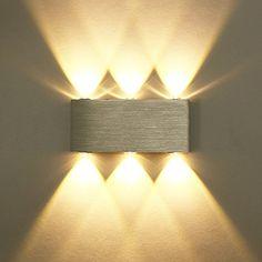 Unimall 6W LED Wandleuchte innen Wandlampe aus Aluminum mit schönem Lichtkeffekt Dekoration in Flur Korridor Wohnzimmer Schlafzimmer Silber Warmweiß, http://www.amazon.de/dp/B06Y5M8B49/ref=cm_sw_r_pi_awdl_xs_0AkGAbNCA07VA