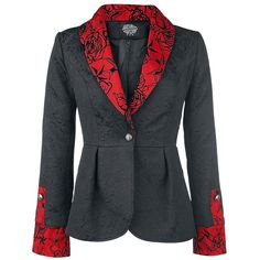 The blazer features a button to close and is flared to the back. On the sleeves you can find decoration buttons.