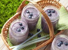 Learn how to make delicious Blueberry Banana Smoothies.