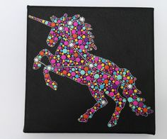 Original painting on canvas - Unicorn dot art painting 1- Constellation Monoceros- Unicorn art - Unicorn silhouette by Mandalaole on Etsy