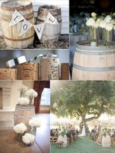 Inspiration : Wine barrel decor ideas for your rustic-elegance wedding! | We have two of these for your to rent from Family Tree Vintage in Muskoka to help you recreate this hot look | (705) 349 1123 | www.tracyfowler.com