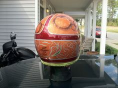 Custom painted helmets, pinstrpe, gold lead, airbrush, flake