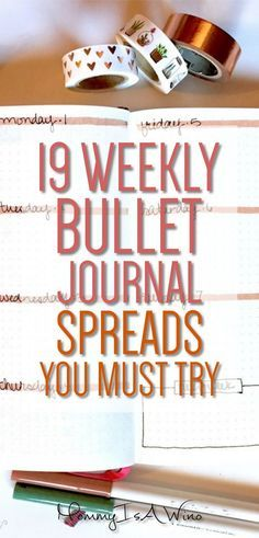 19 Weekly Bullet Journal Spreads You Must Try - Bullet Journal layouts to try to. - Scrapbook How To Start - 19 Weekly Bullet Journal Spreads You Must Try – Bullet Journal layouts to try today - Planner Bullet Journal, Bullet Journal Spreads, Digital Bullet Journal, Bullet Journal Weekly Layout, Bullet Journal How To Start A, My Journal, Bullet Journal Inspiration, Journal Pages, Bullet Journals