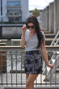 Words cannot express how much I love a dressy fitted skirt with a relaxed tee.