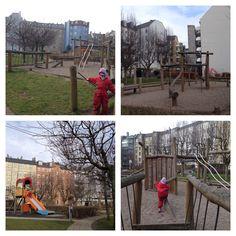 Legeplads i baggård til Fælledvej. Stort grønt område med bænke, forskellige legefaciliteter, fx. Vipper, gynger, rutsjebaner, klatrestativer, gå-på-Line, bakketop mm.