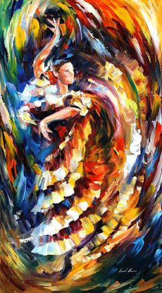 "Passionate Flamenco — PALETTE KNIFE2 Oil Painting On Canvas By Leonid Afremov - Size: 20"" x 36"" (50cm x 90cm)"
