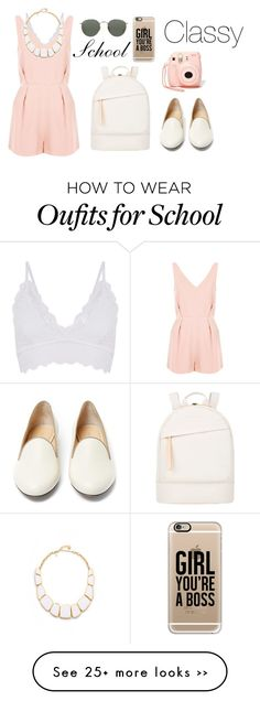 """""""back to school in pretty style"""" by diana2579 on Polyvore featuring Topshop, Kate Spade, Want Les Essentiels de la Vie, Ray-Ban, Nasty Gal, Charlotte Olympia and Casetify"""