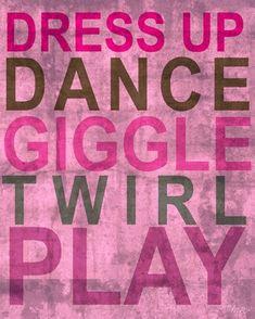 Inspire Me - Dress Up Canvas Wall Art - DRESS UP, DANCE,GIGGLE, TWIRL, PLAY