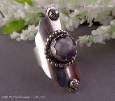 Boho Amethyst and Sterling Silver Saddle Armour Ring