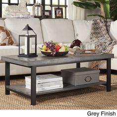 TRIBECCA HOME Cyra Industrial Reclaimed Rectangular Coffee Table