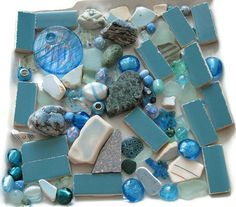 90+ Pc Assorted Blue Beads Sea Glass Tile Stone Jewelry Mosaics Crafts Arts Home