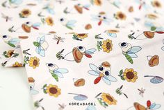 Dragonfly fabric Dragonfly pattern 44x35 100% Cotton by KoreaBacol