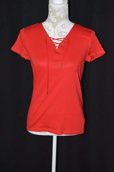 American Living Womens Small Red Short Sleeve T-Shirt Lace Up Front V-Neck #AmericanLiving #KnitTop #Casual