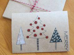 Handmade Christmas card set with glitter trees by WildSugarberries, $12.50