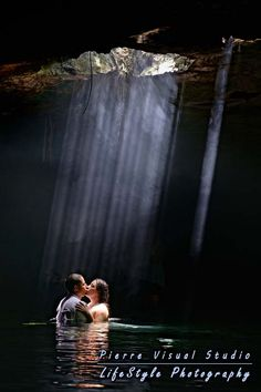 Magic sun rays during a Trash The Dress - Mexico  #TrashTheDress #Cenote #underwaterphotography