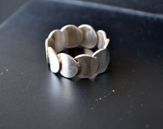 Sterling silver band, size 7 Band, Sterling Silver Ring, Silver Artisan Band, Wise Silver Band, Circles Band, Handmade (V88) by LKArtChic on Etsy