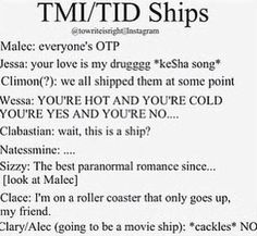 I never shipped Clary and Simon. But the show made me ship Clalec just a bit, but Malec is OTP The Infernal Devices, Malec, Clary And Sebastian, Hush Hush, Kesha Songs, Clary And Simon, Serie Got, Shadowhunter Academy, Cassie Clare