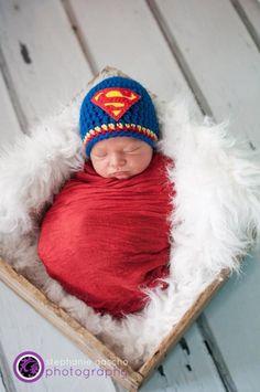 Crochet Super Hero  Baby hat - photography prop 0-3 months, $22.0