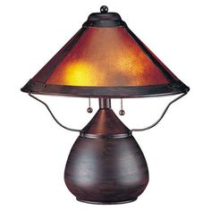 """Mission-Style Mica Table Lamp:  Uses two 40 watt bulbs (not included). 17"""" high. 14 1/2"""" diameter shade."""