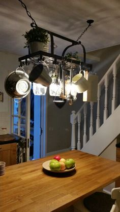 Pot Rack Mason Jar Light Fixture Rustic Farmhouse Inspired DIY - Kitchen pot rack light fixtures