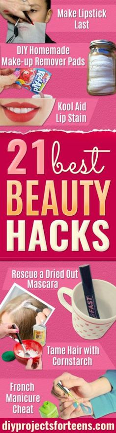 Best Beauty Hacks - Easy Makeup Tutorials and Makeup Ideas for Teens, Beginners, Women, Teenagers - Cool Tips and Tricks for Mascara, Lipstick, Foundation, Hair, Blush, Eyeshadow, Eyebrows and Eyes - Step by Step Tutorials and How To http://diyprojectsforteens.com/best-beauty-hacks