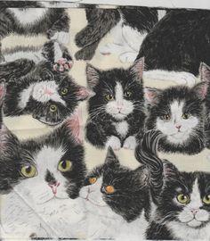 1 kitchen Tie Towel Tuxedo Cat  handmade Made in by joyfully3