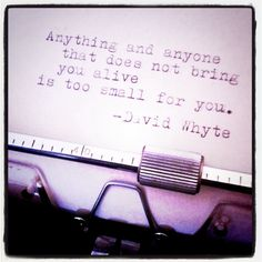 I LOVE this quote:     Anything and anyone that does not bring you alive is too small for you. // David Whyte by dailypoetics, via Flickr