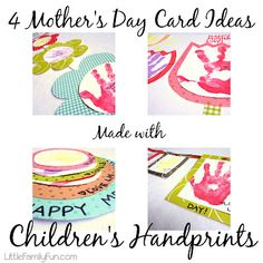 Mother's Day Crafts. Cute Mother's Day card ideas using children's handprints.