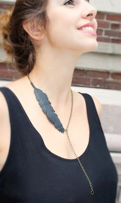 Feather necklace_Bicycle Inner Tube necklace