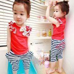 Aliexpress.com : Buy 2014 summer girls clothing baby child t shirt capris trousers set tz 0180 on Kids Fashion Clothing - Worldwide Wholesal...