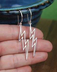 Large Silver Lightning Bolt Earrings Heavens Cloud Nature Weather Cute Women Fashion Earring Studs Christmas Gift Stud Lead Free