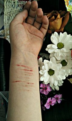 Selfharm and flowers ღ Special Effects Makeup, Depression Quotes, That Moment When, Mental Illness, It Hurts, Blood, Sadness, Tattoos, Qoutes
