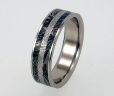 Mens Titanium Ring with Sterling Silver Mokume by jewelrybyjohan, another gorgeous ring