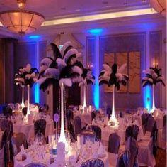 100pcs / lot 14-16 pulgadas blanca pluma de la avestruz Pluma Artesanía Suministros de fiesta de la boda de suministro Centros de mesa Decoración