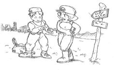 A unnamed concept piece of the humans in the Pokemon world by Satoshi Tajiri. which brought to my attention that the background in subtle areas like a grassy plane can come in handy like a village in the distance. Old Pokemon, Pokemon Fan Art, Jaguar, Pokemon History, Pokemon Realistic, Satoshi Tajiri, Character Art, Character Design, Pokemon Sketch