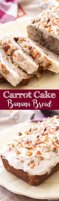 Carrot cake meets banana bread in this easy quick bread recipe! Moist, flavorful, and topped with rich homemade cream cheese frosting, this carrot cake banana bread is the ultimate dessert bread! by kathie