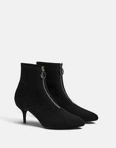 Mid heel sock-style ankle boots with front zip - Boots & Ankle boots - Bershka United States
