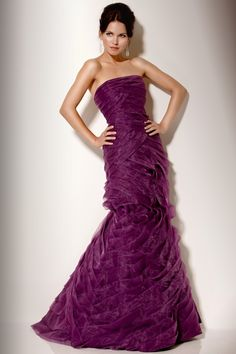 Pleated Strapless Evening Gown Purple