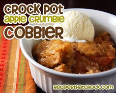This Crock Pot Apple Crumble Cobbler is easy, quick and delicious! The flavor of this recipe is amazing and sure to become a favorite in your home!