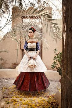 Mexican layered skirt. Ladies would wear this look for very important or special occasions.