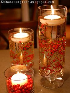 Dress up your table with a floating candle centerpiece.  Check out this easy how-to. #DIY