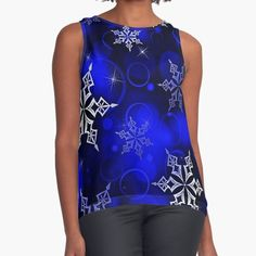 Vibrant royal blue background with silvery white snowflake motif. • Millions of unique designs by independent artists. Find your thing. White Snowflake, Snowflakes, Christmas Themes, Christmas Gifts, Royal Blue Background, Graphic Tees, Vibrant, Women's Fashion, Artists