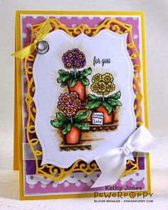 Potted Primroses Stamp Set | Power Poppy by Marcella Hawley