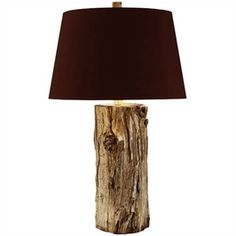 Stripped Log Table Lamp