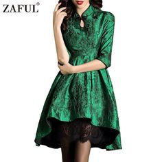 ZAFUL Keyhole Embroidered Qipao Vintage Dress Women 50s Retro Rockabilly Stand Collar 3/4 Sleeve Dresses Robe Feminino