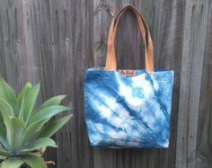 Indigo Shibori Bag Cotton Tote Leadlight