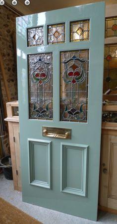 Art Nouveau Front Door Front Door Entrance, Wooden Front Doors, Door Entryway, House Front Door, Painted Front Doors, Glass Front Door, House Entrance, Entry Doors, Glass Doors