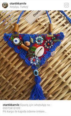 Kolye Leather Necklace, Boho Necklace, Crochet Necklace, Textile Jewelry, Fabric Jewelry, Handmade Necklaces, Handmade Jewelry, Handmade Crafts, Jewelry Gifts